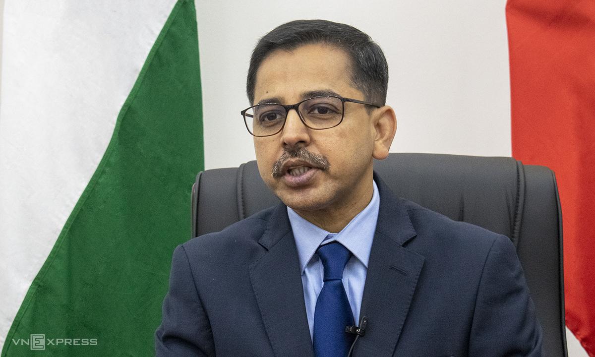 Đại sứ Ấn Độ tại Việt Nam Pranay Verma, ngày 23/2. Ảnh: Nguyễn Tiến.