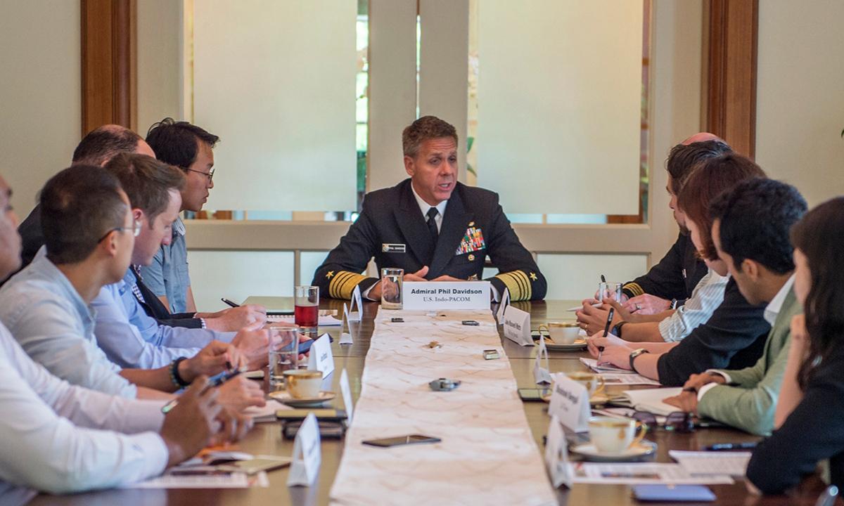 Phil Davidson, chỉ huy Bộ tư lệnh Ấn Độ Dương - Thái Bình Dương của Mỹ, trong cuộc nói chuyện với truyền thông ở Singapore tháng 3/2019. Ảnh: AP.