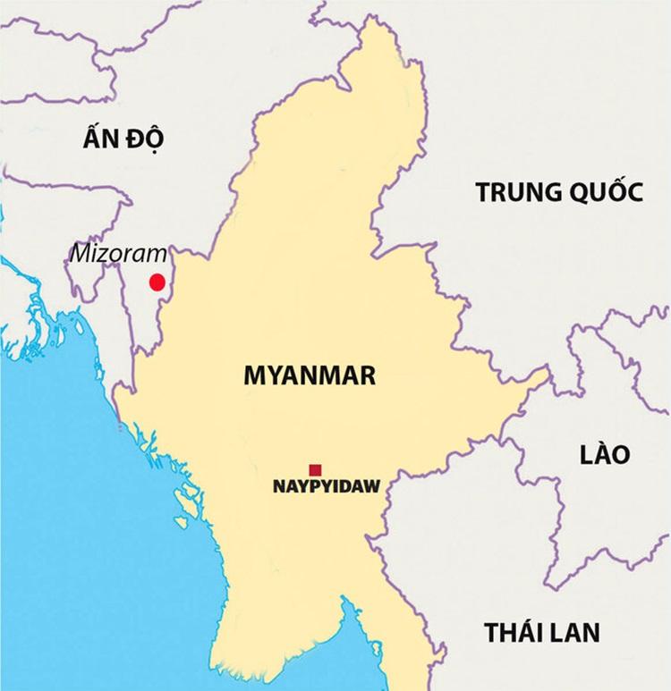 Vị trí bang Mizoram của Ấn Độ giáp biên giới với Myanmar. Đồ họa: Geographical Magazine.