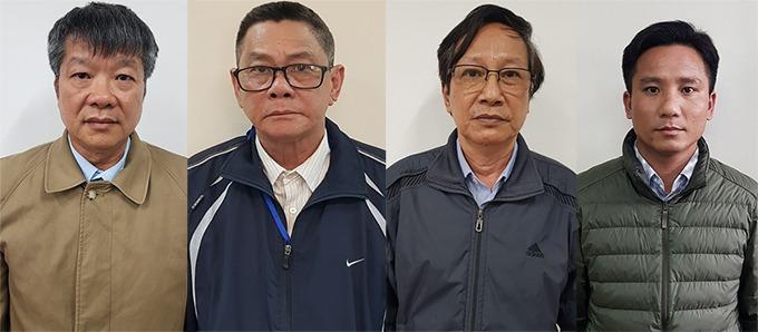Từ trái qua, 4 cựu giám đốc các gói thầu Hải, Khuê, Tuấn, Toàn. Ảnh: Bộ Công an
