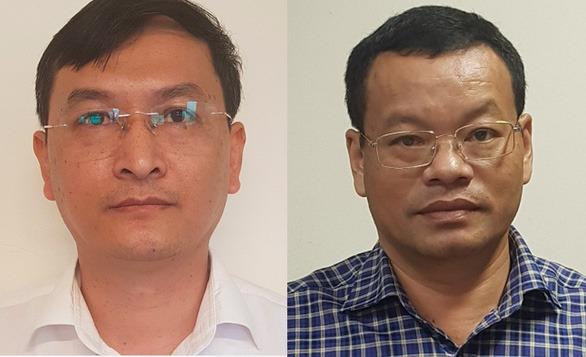 Lê Quang Hào (trái) và Nguyễn Mạnh Hùng, phó tổng giám đốc VEC khi bị bắt. Ảnh: Công an cung cấp