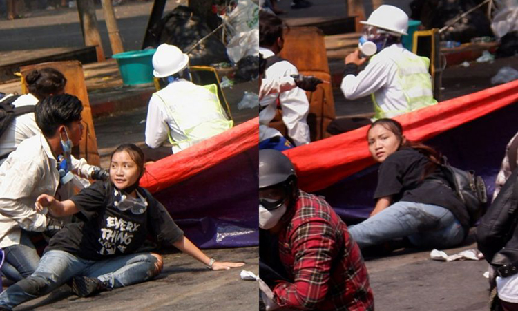 Angel tìm chỗ ẩn nấp khi cảnh sát giải tán người biểu tình ở Mandalay hôm 3/3, ngay trước khi cô bị bắn chết. Ảnh: Reuters.