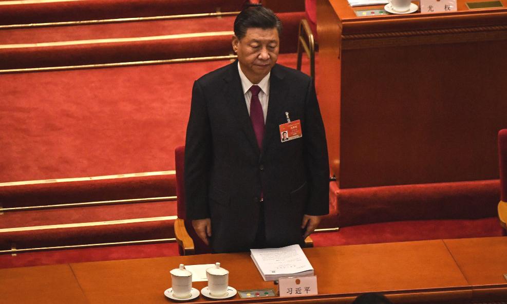 Chủ tịch Trung Quốc Tập Cận Bình tại phiên khai mạc kỳ họp quốc hội tại Đại lễ đường Nhân dân Bắc Kinh hôm nay. Ảnh: AFP.