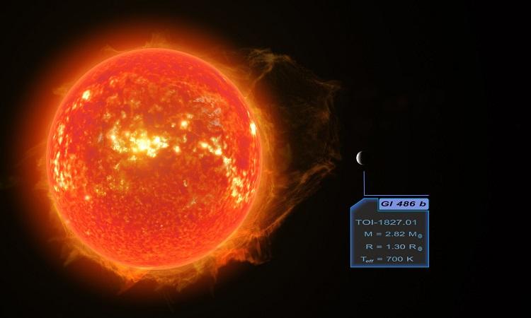 Mô phỏng ngoại hành tinh Gliese 486 b và ngôi sao chủ. Ảnh: RenderArea.