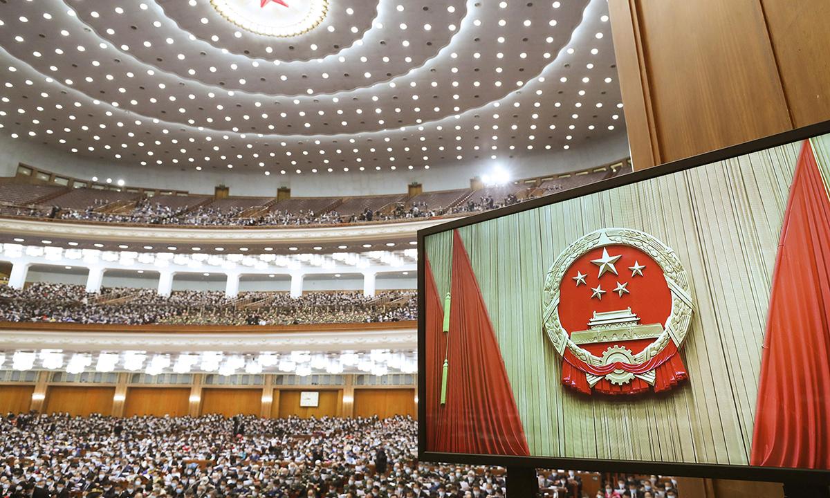Phiên khai mạc kỳ họp của NPC tại Đại lễ đường Nhân dân Bắc Kinh hôm 5/3. Ảnh: Xinhua.