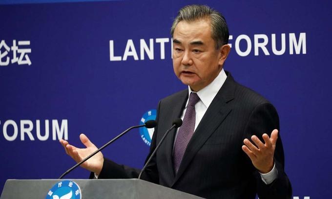 Ngoại trưởng Trung Quốc Vương Nghị phát biểu tại một diễn đàn ở Bắc Kinh hồi tháng 9 năm ngoái. Ảnh: Reuters.