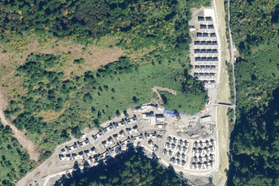 Ảnh vệ tinh tháng 11/2020 cho thấy Trung Quốc xây làng ở Arunachal Pradesh. Ảnh: NDTV.