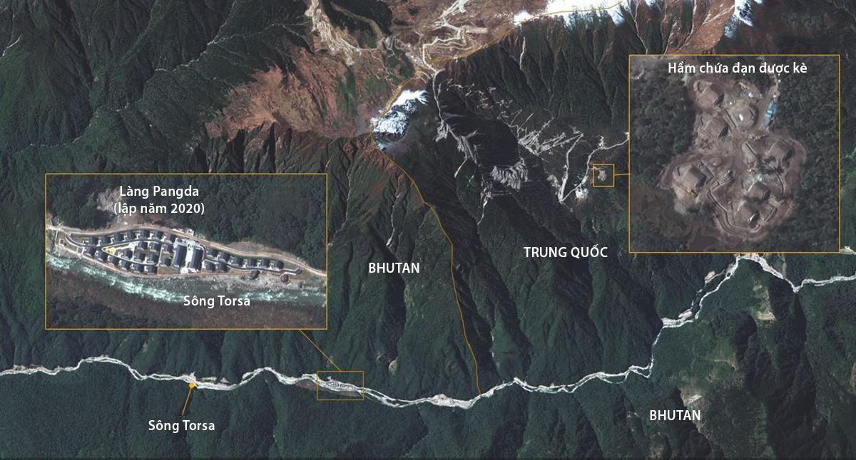 Vị trí làng Pangda gây tranh cãi của Trung Quốc và khu vực có thể là kho đạn mới xây, tháng 10/2020. Ảnh: Maxar.