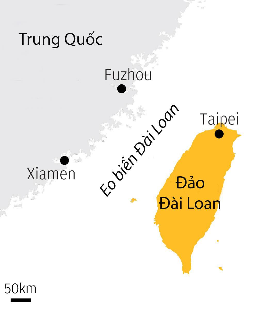 Vị trí eo biển Đài Loan. Đồ họa: SCMP.