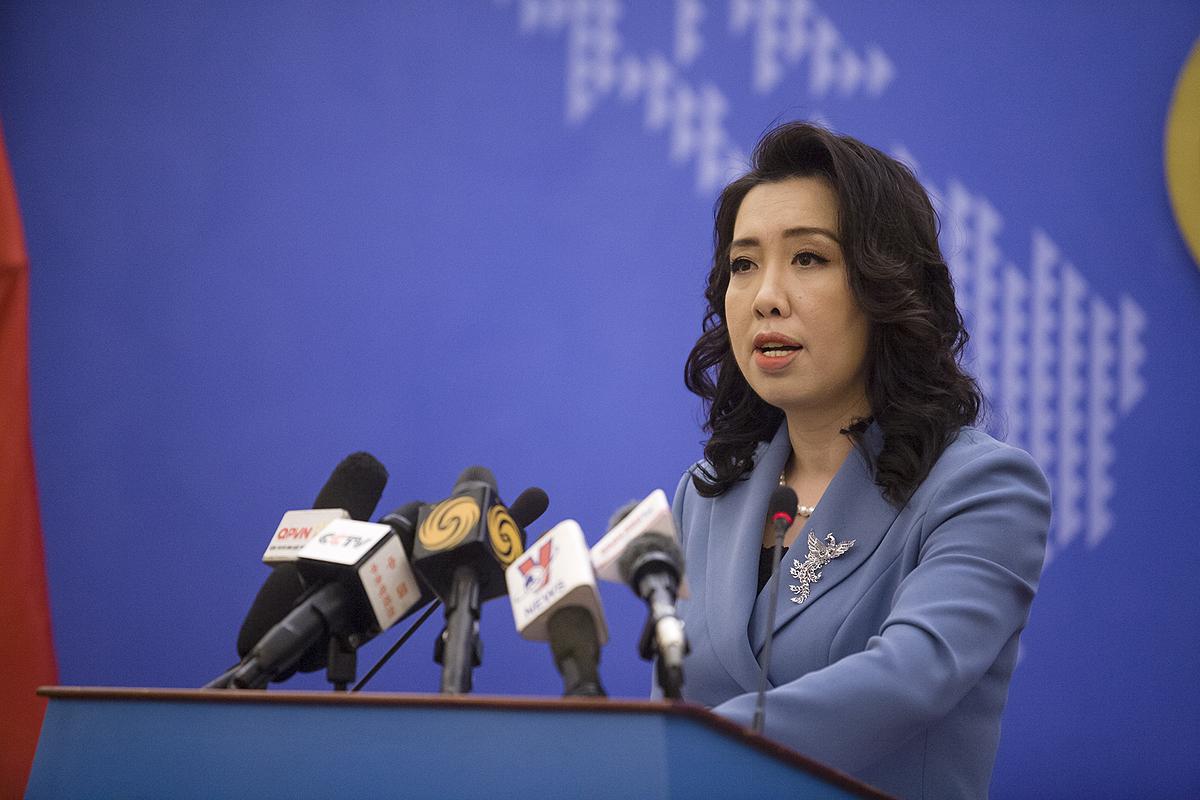 Người phát ngôn Lê Thị Thu Hằng trong cuộc họp báo ngày 11/3. Ảnh: BNG.