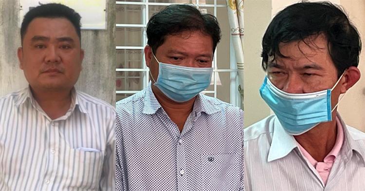 Từ trái qua, Chiến, Việt và Sang khi bị bắt tạm giam. Ảnh: Mai Phương