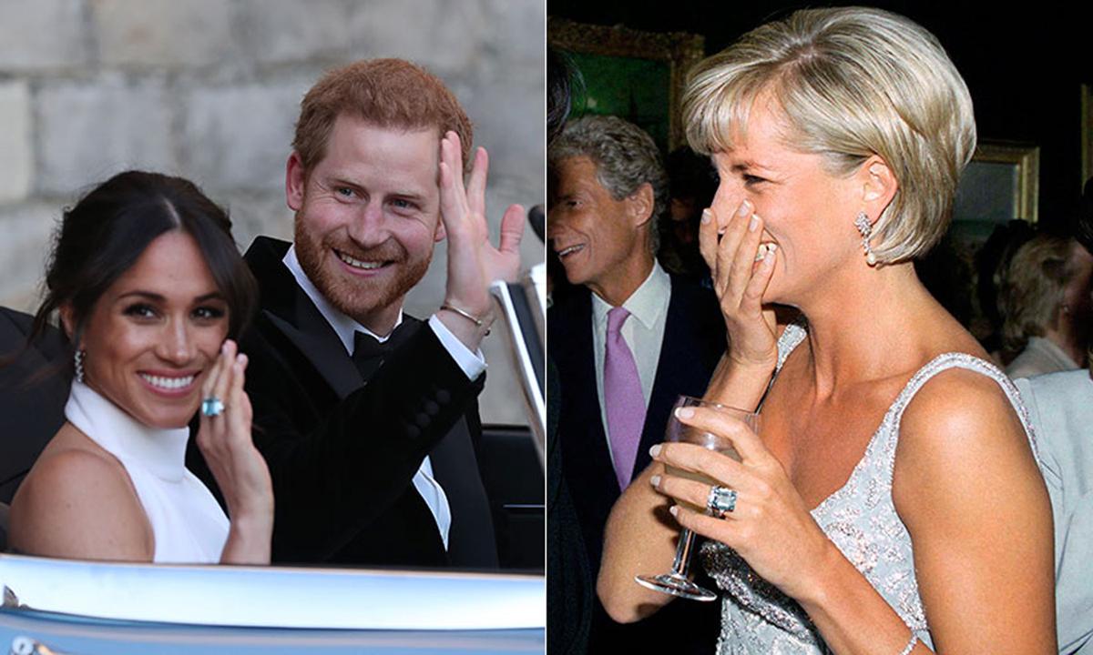 Meghan Markle (trái) và Công nương Diana (phải) đeo chiếc nhẫn aquamarine. Ảnh: Hello Magazine.