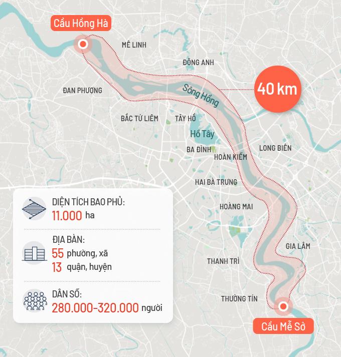 Không gian nghiên cứu Đồ án quy hoạch phân khu đô thị sông Hồng. Đồ họa: Tạ Lư