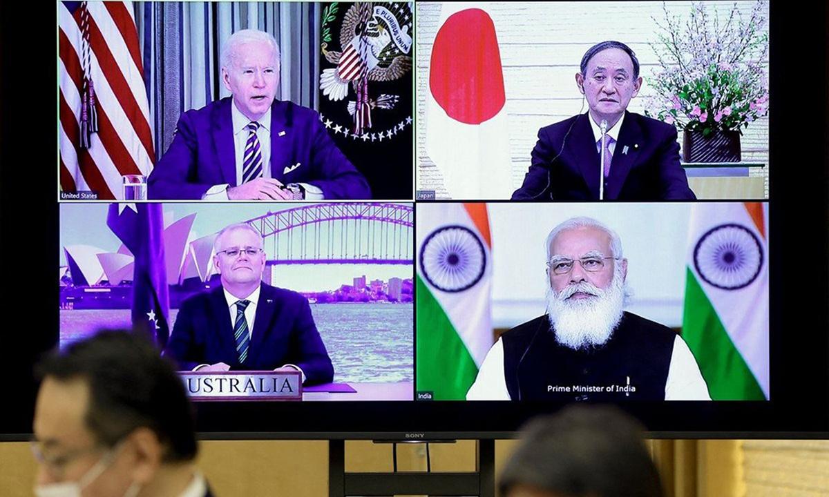 Màn hình cuộc họp trực tuyến nhóm Bộ Tứ tại Tokyo hôm 12/3. Ảnh: AFP.