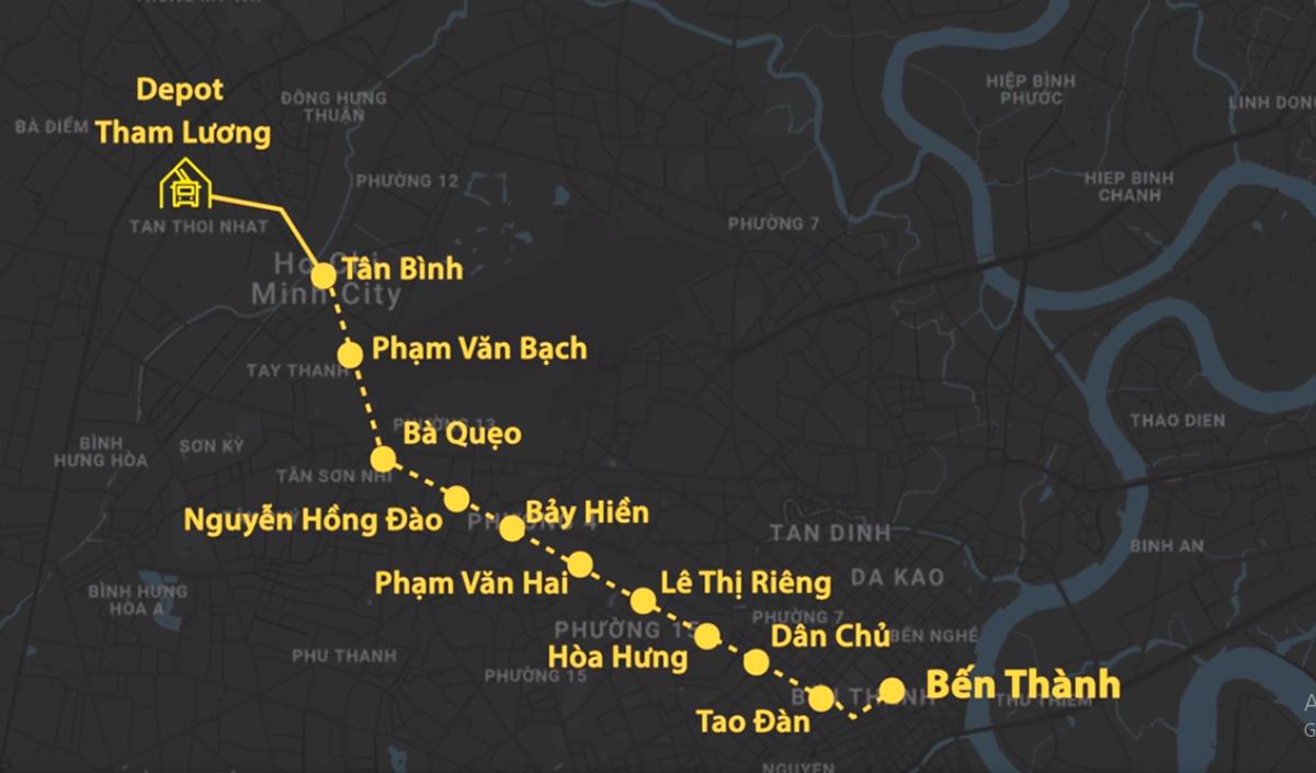 Hướng tuyến Metro Số 2. Đồ họa: Thanh Huyền.