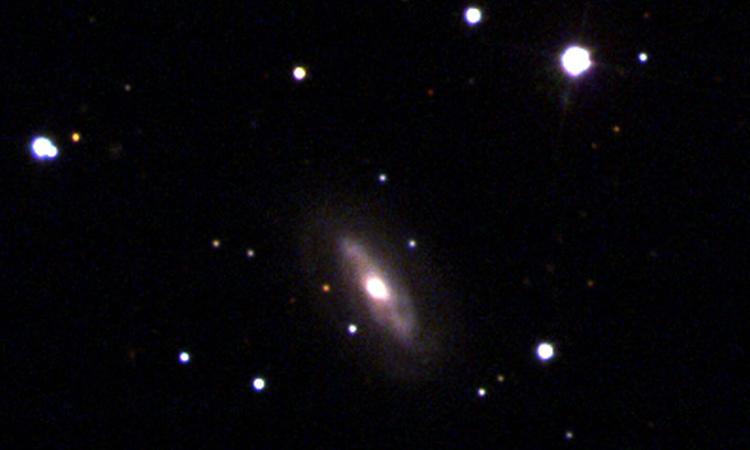 Thiên hà J0437+2456 chứa hố đen siêu khối lượng di chuyển nhanh. Ảnh: Sloan Digital Sky Survey.