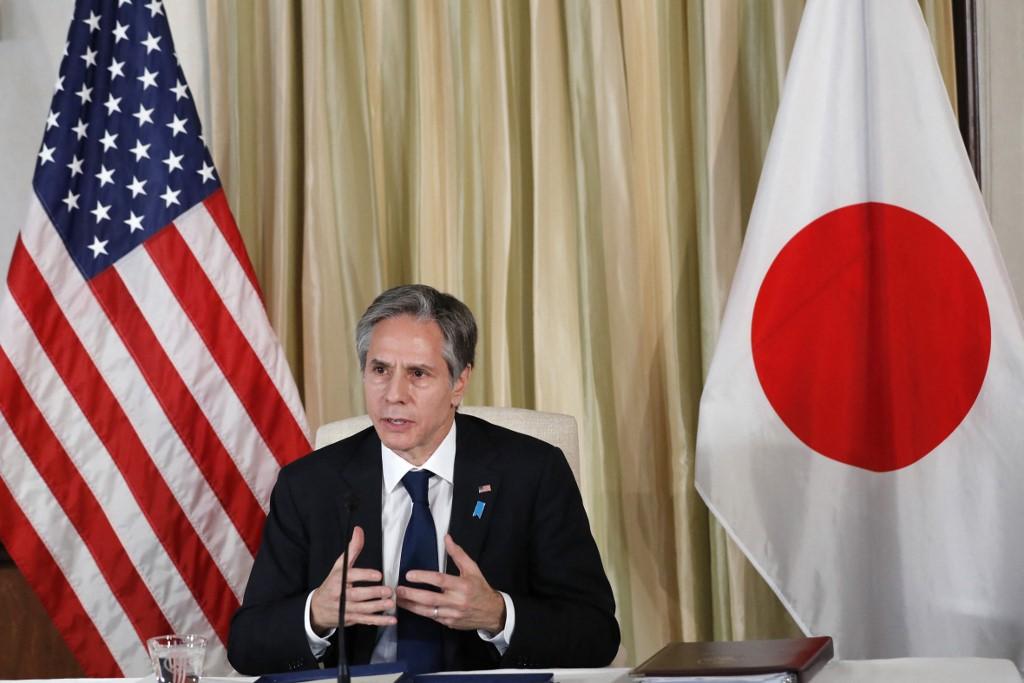 Ngoại trưởng Mỹ trong cuộc họp ở Tokyo hôm 16/3. Ảnh: AFP