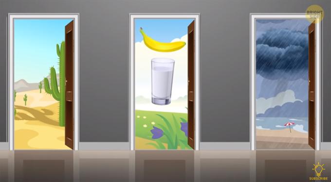 Một kẻ tinh thần không ổn định khống chế và cho bạn ba lựa chọn để ở trong ba tuần. Bạn chọn cánh cửa nào?  A. Sa mạc sương rồng  B. Đồng hoa ngập nắng, một quả chuối và một cốc nước  C. Bãi biển   >>Đáp án