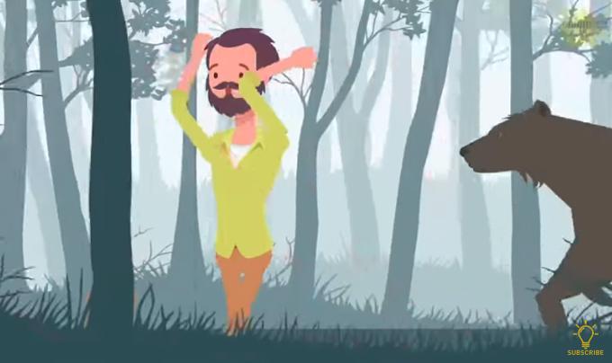Bạn đang đi vào rừng và bất ngờ gặp một con gấu đen khổng lồ. Bạn sẽ làm cách nào để thoát khỏi tình huống này? A. Vừa chạy thật nhanh, vừa hét thật to  B. Nằm thấp xuống  C. Leo lên cây  >>Đáp án