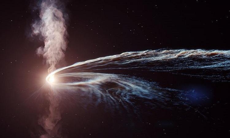 Mô phỏng ngôi sao bị hố đen xé nhỏ. Ảnh: DESY.