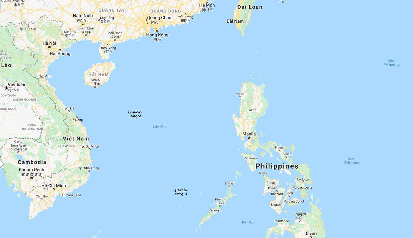 Vị trí hai quần đảo Hoàng Sa và Trường Sa của Việt Nam trên Biển Đông. Đồ họa: Google.