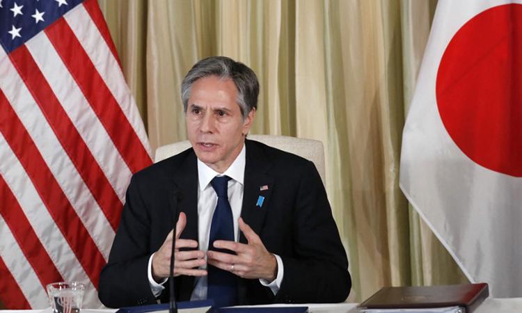 Ngoại trưởng Mỹ Antony Blinken phát biểu tại đại sứ quán Mỹ ở Tokyo, Nhật Bản hôm 16/3. Ảnh: AFP.