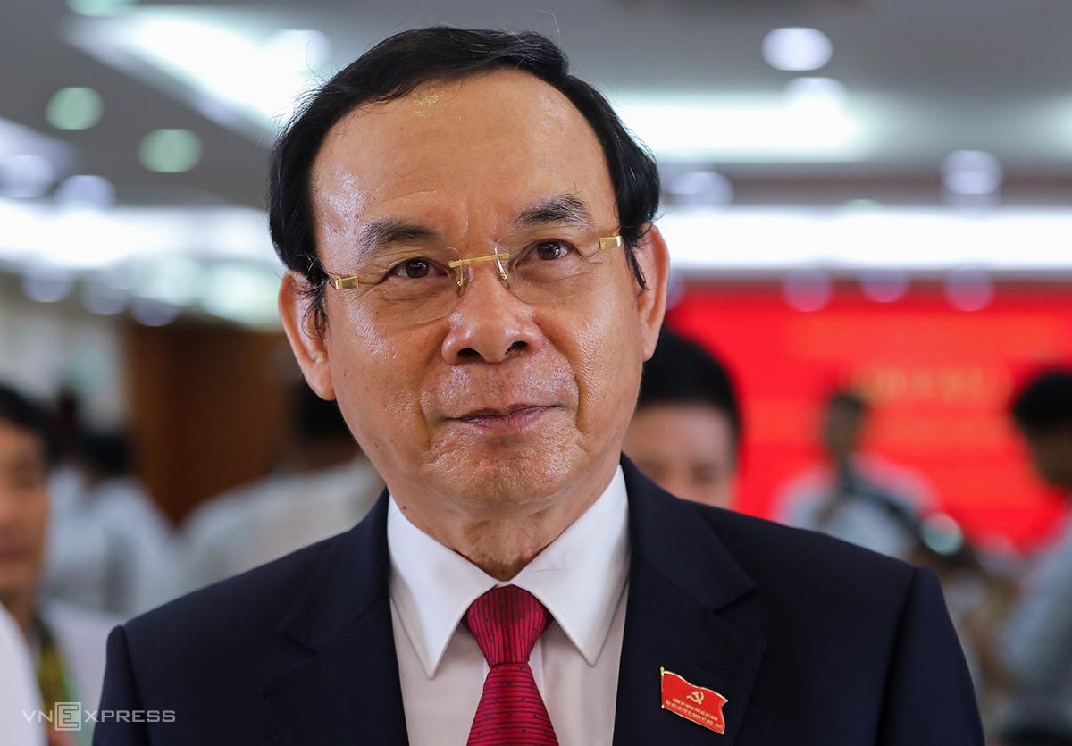 Bí thư Thành ủy TP HCM Nguyễn Văn Nên tại buổi họp báo hôm 18/10/2020 sau Đại hội Đảng bộ TP HCM. Ảnh: Quỳnh Trần.