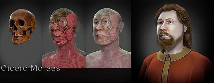 Khuôn mặt được phục dựng của công tước Vratislav I. Ảnh: Cicero Moraes.