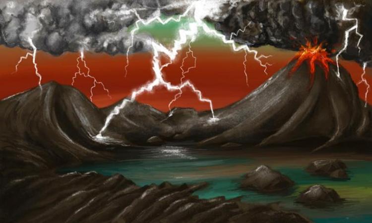 Mô phỏng bão sét trên Trái Đất trong thưở sơ khai. Ảnh: CNN.