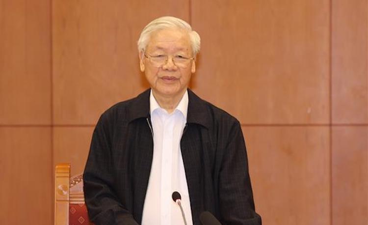 Tổng Bí thư, Chủ tịch nước Nguyễn Phú Trọng phát biểu kết luận cuộc họp. Ảnh: TTXVN