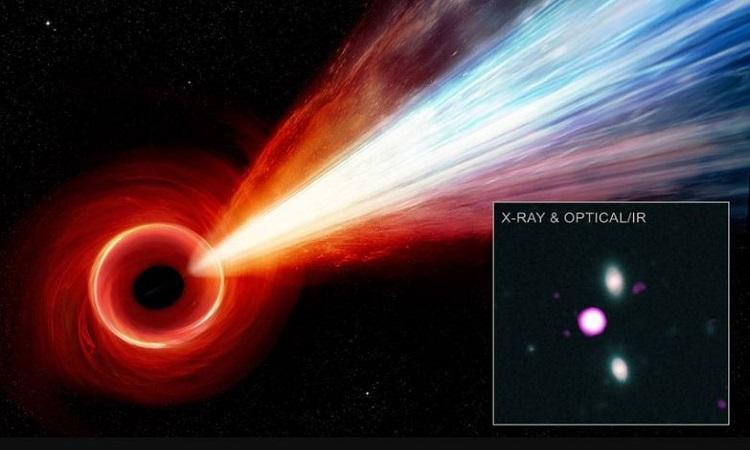 Hố đen siêu khối lượng xa xôi phóng luồng tia X cực mạnh trong vũ trụ. Ảnh: NASA.