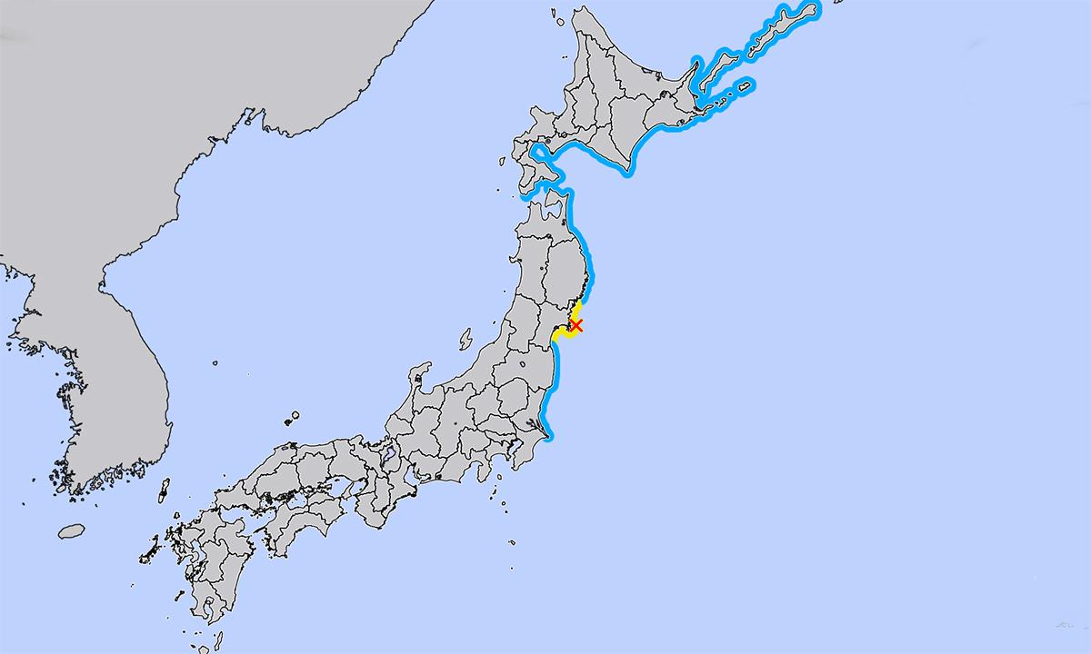 Vị trí tâm chấn của trận động đất ngày 20/3 (dấu X màu đỏ) và các vùng súng thần có thể ập vào (đường màu vàng mà màu xanh). Ảnh: JMA.