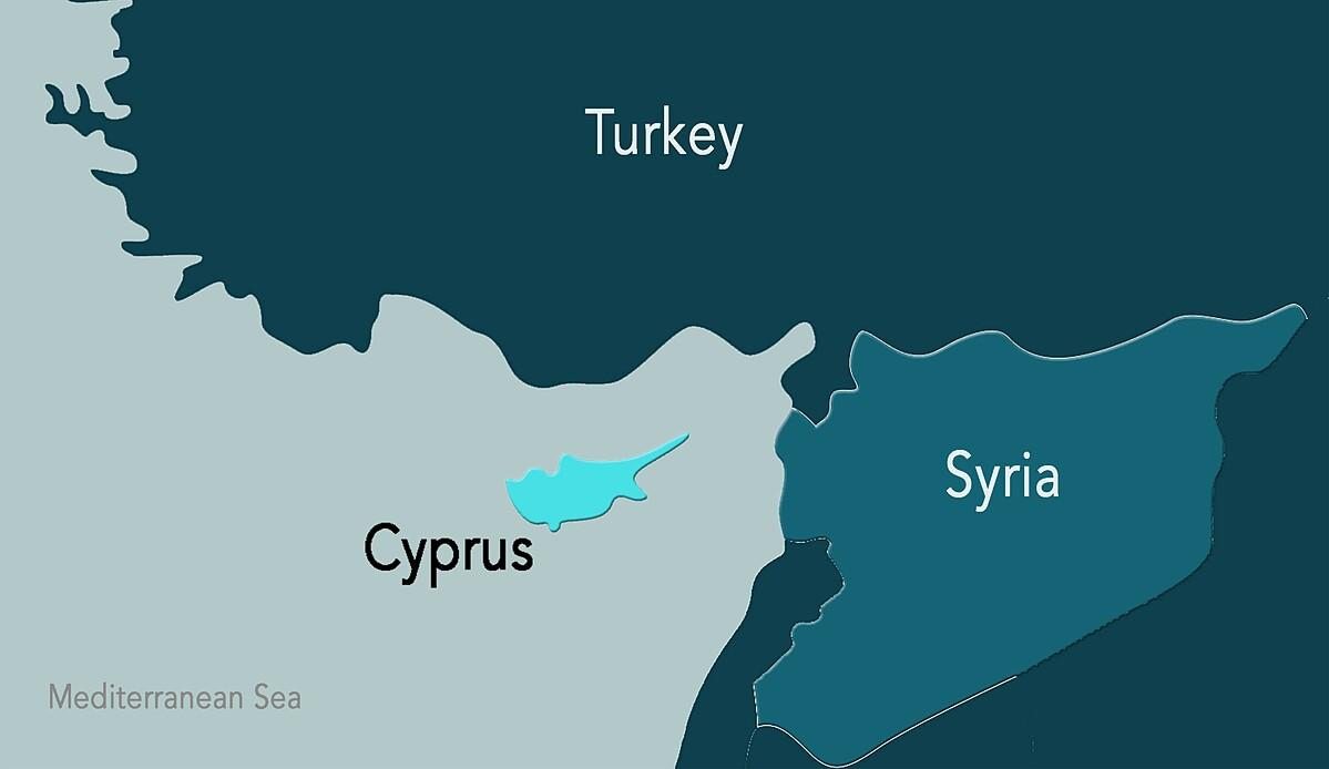 Vị trí đảo Cyprus ở vùng biển phía tây Syria. Đồ họa: Medium.