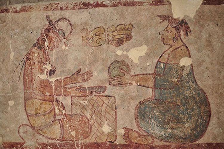 Bức tranh 2.500 năm tuổi mô tả hoạt động mua bán muối của người Maya. Ảnh: Rogelio Valencia/Proyecto Arqueológico Calakmul.