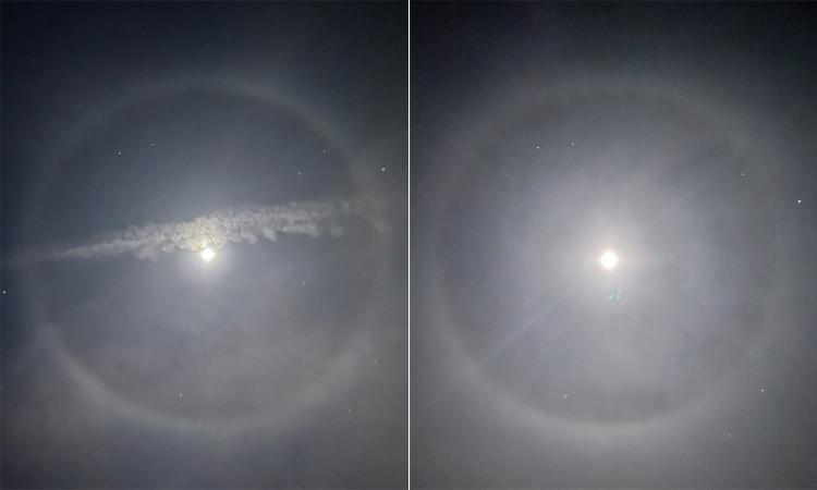 Hào quang Mặt Trăng quan sát ở Chicago (trái) và Boyne (phải). Ảnh: Craig Napont/April.