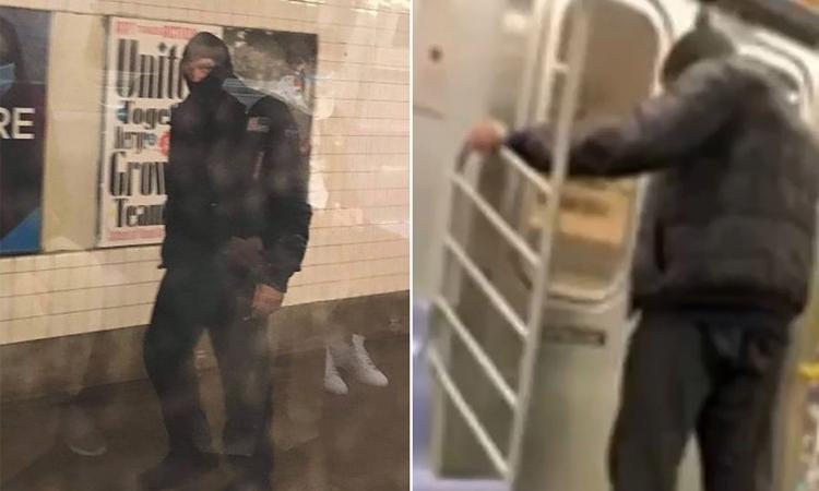 Nghi phạm đi tiểu lên người một phụ nữ gốc Á trên tàu điện ngầm ở New York hôm 21/3. Ảnh: NY Post.