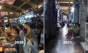 Chợ Bến Thành đìu hiu sau một năm Covid-19