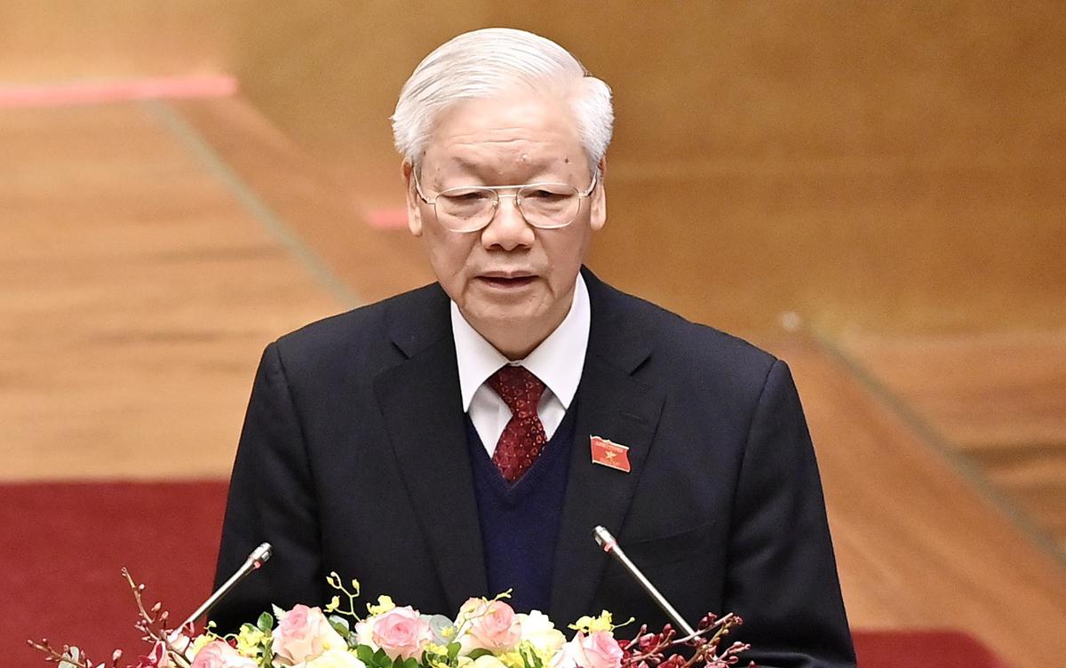 Tổng bí thư, Chủ tịch nước Nguyễn Phú Trọng phát biểu trước Quốc hội, sáng 24/3. Ảnh: Giang Huy