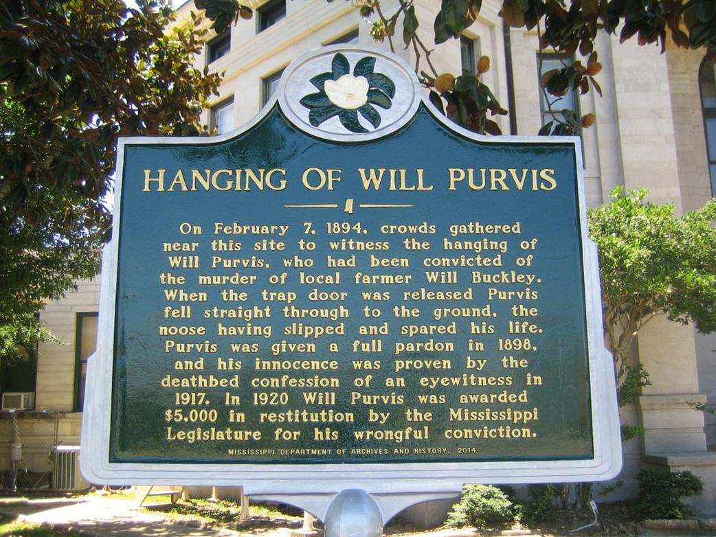 Chính quyền bang Mississippi dựng bia đá nói về vụ hành hình bất thành đối với Will Purvis. Ảnh: Marion County.
