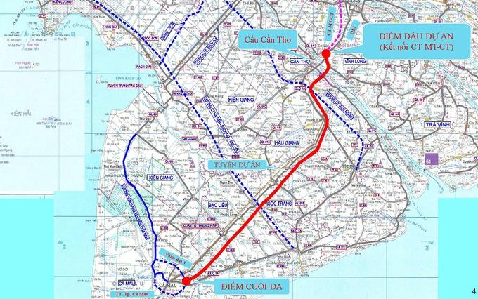 Hướng tuyến dự kiến cao tốc Cần Thơ - Cà Mau (đường đỏ). Ảnh: Ban quản lý Mỹ Thuận