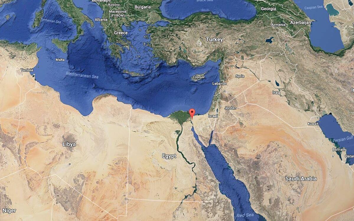 Vị trí kênh đào Suez (chấm đỏ) nối Biển Đỏ và Địa Trung Hải. Đồ họa: Google Maps.