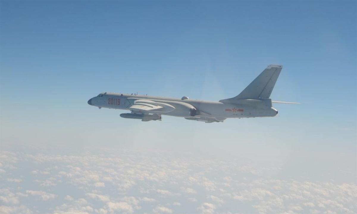 Oanh tạc cơ H-6K Trung Quốc trong một chuyến áp sát đảo Đài Loan hồi năm 2020. Ảnh: Cơ quan phòng vệ Đài Loan.