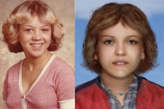 Một thành viên của Websleuth giúp liên kết ảnh của Tammy Alexander (trái) với ảnh phục dựng khuôn mặt của thi thể vô danh. Ảnh: Findthemissing.