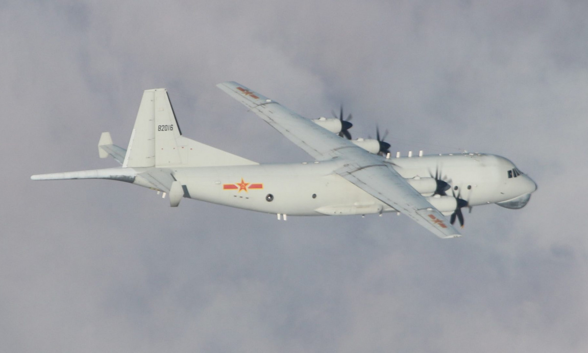 Máy bay Y-8 Trung Quốc áp sát đảo Đài Loan hồi tháng 1. Ảnh: Cơ quan phòng vệ Đài Loan.
