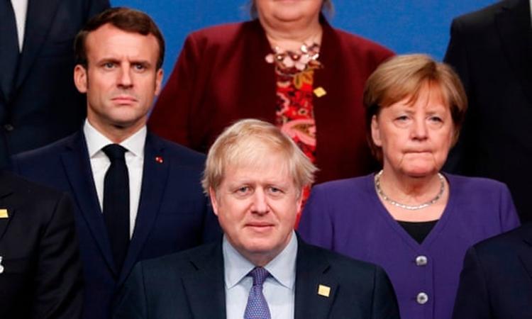 Từ trái qua phải: Tổng thống Pháp Emmanuel Macron, Thủ tướng Anh Boris Johnson và Thủ tướng Đức Angela Merkel tại hội nghị thượng đỉnh NATO vào tháng 12/2019. Ảnh: AFP.