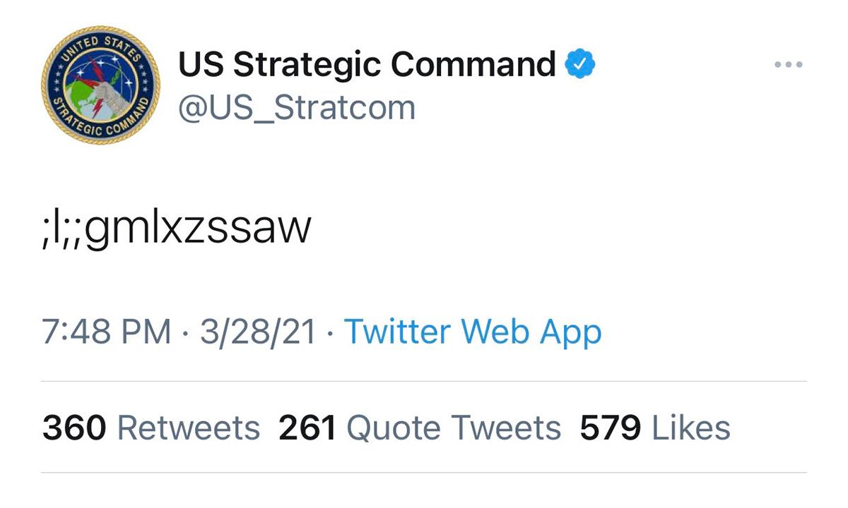 Đoạn tweet gây khó hiểu của Bộ Chỉ huy Chiến lược của Mỹ. Ảnh chụp màn hình.