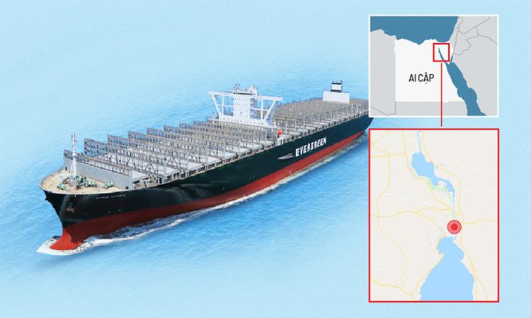 Kích thước tàu hàng khiến kênh Suez tê liệt nhiều ngày (Bấm vào ảnh để xem chi tiết). Đồ họa: Tạ Lư.
