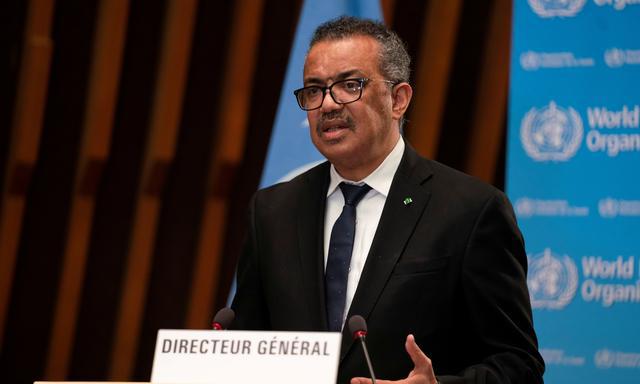 Tổng giám đốc WHO Tedros Adhanom Ghebreyesus phát biểu tại Geneva, Thụy Sĩ, hôm 18/1. Ảnh: Reuters.