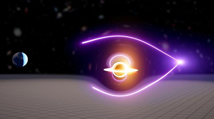 Mô phỏng hiện tượng thấu kính hấp dẫn giúp phát hiện hố đen trong vũ trụ. Ảnh: Carl Knox/OzGrav.