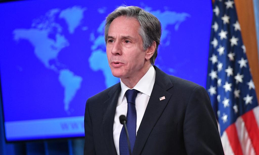 Ngoại trưởng Mỹ Antony Blinken phát biểu tại Bộ Ngoại giao Mỹ ở Washington hôm 30/3. Ảnh: AFP.
